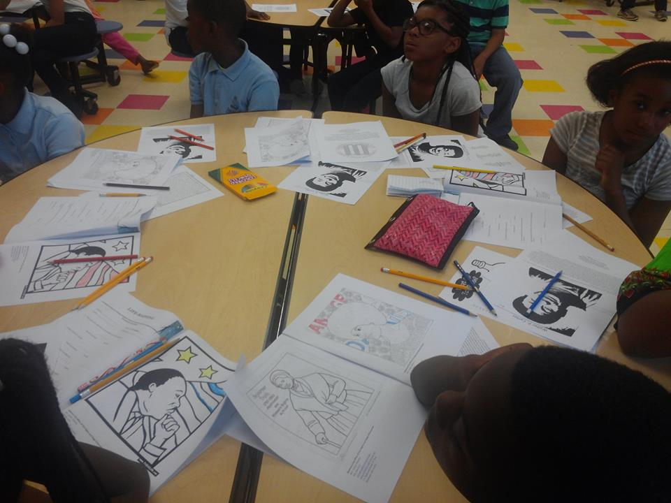 Students completing Civil Rights Activity at Guilford Elementary