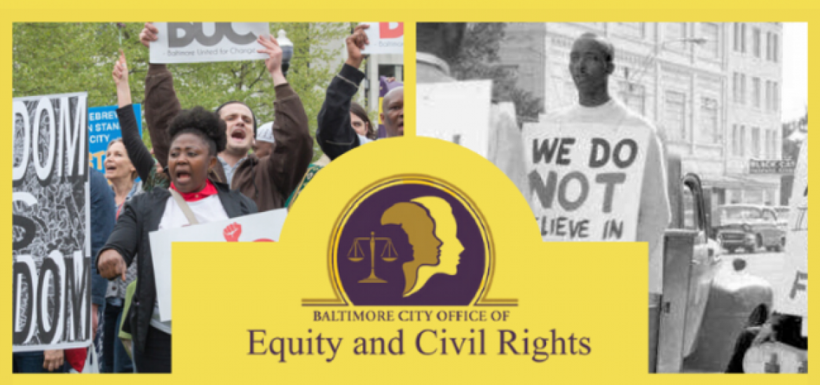Office of Civil Rights Logo between a photo of a 1960s protest and a recent protest
